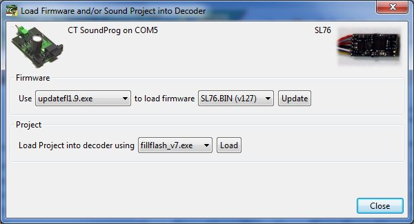Update decoder Firmware or load sound project